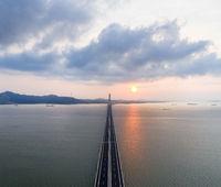 aerial view of poyang lake second bridge in sunrise