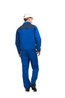 Man in blue work clothes and helmet isolated view
