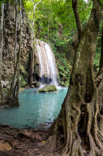 Tropical waterfall with increadibly blue water. Erawan, Thailand