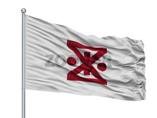 Amagasaki City Flag On Flagpole, Japan, Hyogo Prefecture, Isolated On White Background