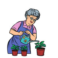 Old woman watering potted flowers