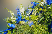 Beautiful floral composition from white and blue flowers and variegated leaves of decorative plants