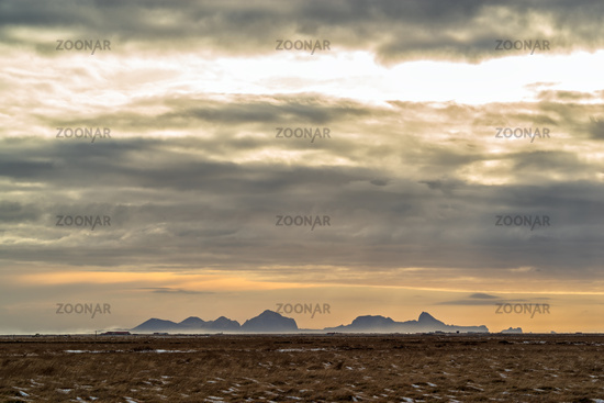 Bay and mountains of Vik in distance, Iceland