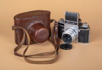 Old German camera EXA. 1961 release and case.