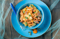 pappardelle with cheese sauce and fresh chanterelles