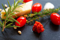 Pesto Rosso with ingredients