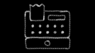 cash register icon, designed with drawing style on chalkboard, animated footage ideal for compositing and motiongrafics