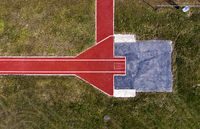 Bird's eye view of the runway and box of a pole vaulting installation