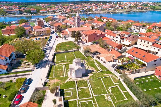 Historic town of Nin landmarks aerial view