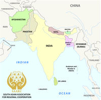 South Asian Association for Regional Cooperation (SAARC) vector map with logo