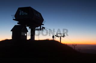 Mt Buller Ski Lift and Equipment At Night
