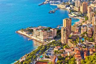 Monaco and Monte Carlo cityscape and harbor aerial view
