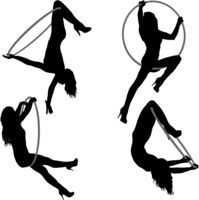 Set silhouette woman doing some acrobatic elements aerial hoop on a white background