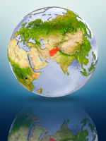 Afghanistan on globe