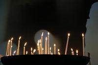 Sacrificial candles in a church