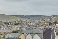Lerwick town center under cloudy sky, Lerwick, Shetland Islands, Scotland, United Kingdom.