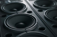 Multimedia  acoustic sound speaker system. Music close up black background.