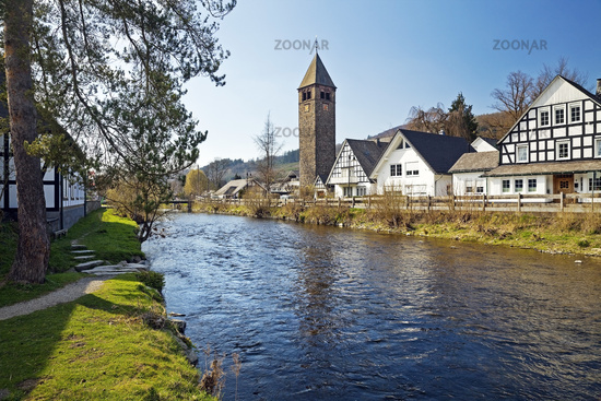 River Lenne and village Saalhausen, Lennestadt, Sauerland, North Rhine-Westphalia, Germany, Europe