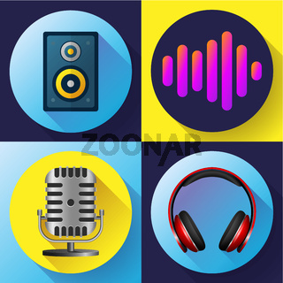 Musical icons set flat style - old microphone headphones acoustics and sound volume