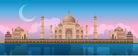 Sunset at Taj Mahal in Agra, India, panoramic city vector