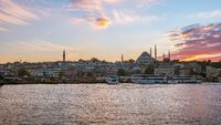 Sunset view of Istanbul port in Istanbul city, Turkey