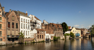 Ghent, Belgium - June 13, 2017: Beautiful canal  near the Caste of the Counts of Gravensteen