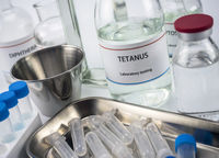 Test tetanus in laboratory, conceptual image, composition horizontal
