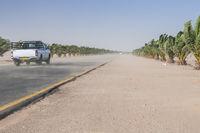 Sandstorm on the Trans-Kalahari Highway between Walvis Bay and Swakopmund, Namibia, Africa.