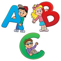 Children with letters ABC theme 1