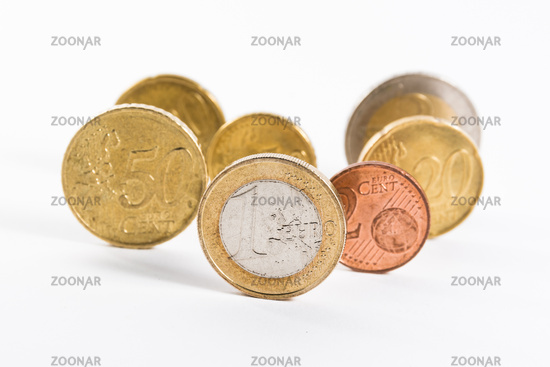 Group of Euro Coins Standing Standout One Euro Front Collection Currency European EU Union Business Finances
