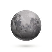 Bright realistic moon with texture on white