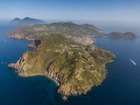 Aerial view of Lipari, the largest of the Aeolian Islands, southern Italy