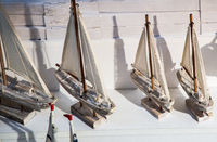 Hand made sail boats in view