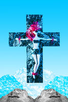 Doll crucified on a plastic cross under a transparent film on a background of real and synthetic mountains. Contemporary art collage. Doll crucified on a plastic cross under a transparent film on a background of real and synthetic mountains. Contemporary