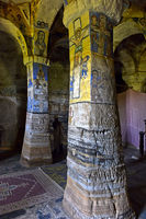 Pillars in the interior of the rock-hewn church Abuna Gebre Mikael , Gheralta, Tigray, Ethiopia