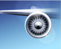 Turbine engine jet for airplane with fan blades in a circular motion. Vector illustration for aircraft industry. Close-up on blue background
