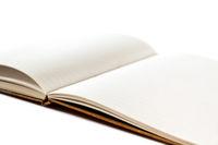 Open blank notebook closeup view