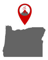 Karte von Oregon mit Anzeiger für Vulkan - Map of Oregon with volcano locator
