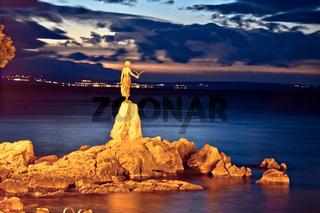 Opatija bay statue at sunset view