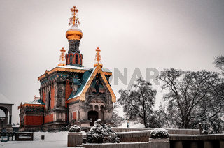Russische Kapelle, Darmstadt im Winter mit Schnee
