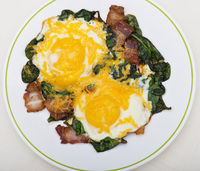 Keto diet breakfast with  eggs, spinach and bacon