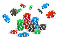 Colorful red, green, blue and black casino chips flying and stack isolated