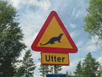 Road sign, Otter (Lutra lutra)