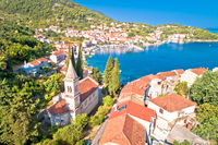 Idyllic coastal village of Racisce on Korcula island aerial view