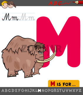 letter M worksheet with cartoon mammoth