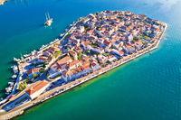 Split suburb Vranjic island aerial view