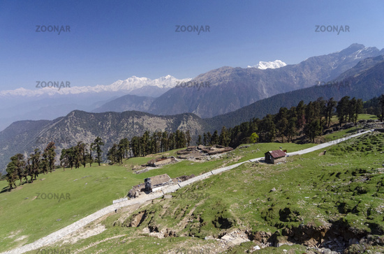 Route to Tungnath Shiva temple the highest in the world, Garhwal, Uttarakhand, India