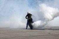 Motorbike drift white smoke wheel