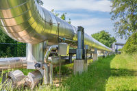 Large metal gas pipeline transporting gas in the netherlands