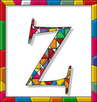 Letter Z in stained glass